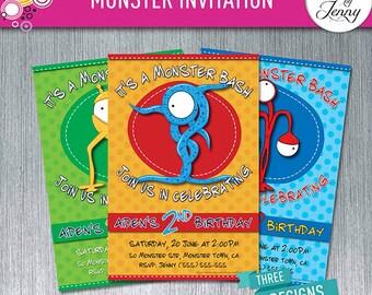 MONSTER BASH BOYS birthday invitation - Made to Order