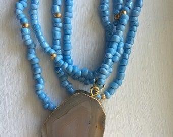 Blue Pendant Wrap Necklace