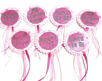 Baby Shower Badge / Rosette - Baby Girl Pink Glitter Set of 6 Assorted
