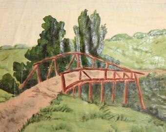 Impressionist oil painting vintage landscape