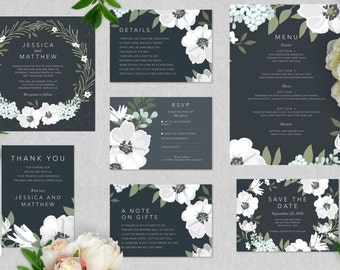 Printable Wedding Stationery Set | Vintage Black and White Floral | Wedding Invitations | RSVP | Wishing Well | Save the Date | Menu
