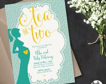 Printable Baby Shower Invitation | Baby Shower Invite | DIY Printable | Tea for two invite