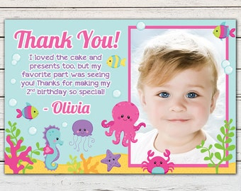 """Under the Sea Girl Printable 4"""" x 6"""" Thank You Card - DIY - PDF & JPG Files only"""