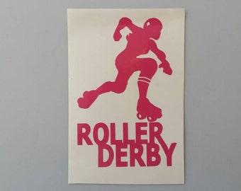 ROLLER DERBY SKATER Skates Skating Vinyl Decal Free Shipping Car Window Sticker Laptop Wine Glass Beer Mug Frame Sports Bottle Organizer