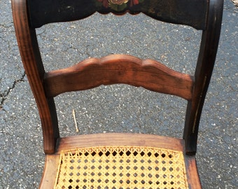 Antique Stenciled Cane Side Chair... Very Good condition...