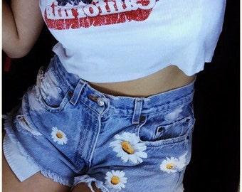 Daisy denim high waisted cut off shorts