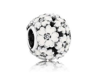 Authentic Pandora WHITE Enamel PRIMROSE Charm Bead