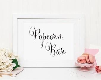 Wedding Popcorn Bar Sign, Wedding popcorn Sign, Wedding Dessert Table Sign, Popcorn Favors Sign, Wedding Treat Bags Sign, WCP04