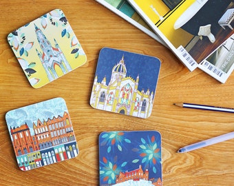 "Set of Four ""Scenes of Edinburgh"" Coasters- Edinburgh Castle, Scott Monument, St Giles' Cathedral and Victoria Street"