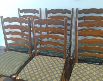 36 Ladder Back Oak Vintage English Chairs