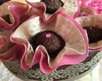 "60 Luxury Silk / Satin / Burlap Ballerina Flowers - ""CANDY CUPS"" for Chocolate Truffles  Wedding Dessert Table or Chocolate Bar Display"