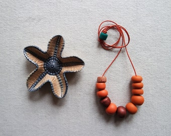SALE Handmade Polymer Clay and Leather Necklace Beaded Geometric Copper Bronze