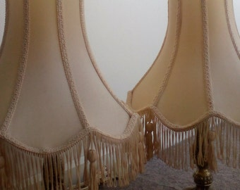 Lampshades with Beige Scalloped edge and Tasselled