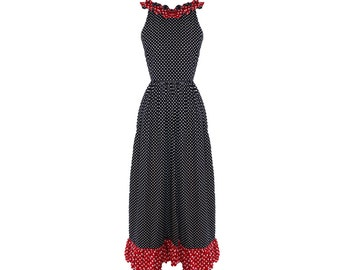 Vintage Donald Brooks Boutique Navy and Red Polka Dot Ruffled Maxi Dress 1960s