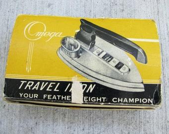Vintage Omega Travel Iron, Vintage Midcentury Iron, Vintage Travel Iron with original box