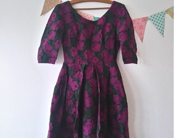 1950s French tulip wool dress x-small