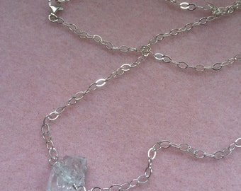 Single Herkimer Diamond Quartz and Sterling Silver Necklace