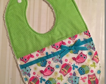 Lime Green with Pink and Blue Owls Baby Bib - Great Baby Gift - Lime Green, Pink and Blue Bib - Owl Bib - Spring  Bib - Modern Baby Girl Bib