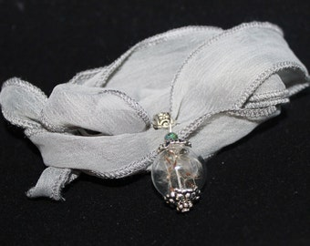 Dandelions wrap bracelet, Loewenzahn silk bracelet