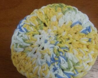Handmade Cotton Dish Scrubby yellow/green/white/blue