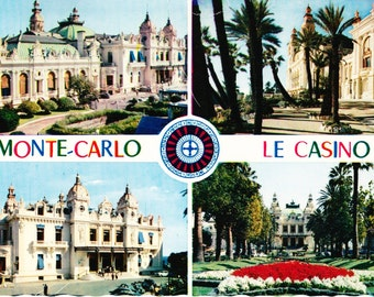 Vintage 60s Color Photo Postcard Monte Carlo Casino Cote d'Azur French Riviera