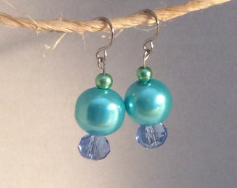 Sky blue glass pearl and crystal earrings