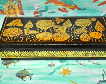 Vintage Lacquer Box Fish and Lotus