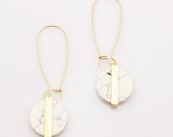 Earrings round marble long pendulous fashion trend