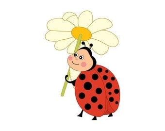 Ladybug  Clipart - Digital Vector Ladybird, Insect, Garden, Character, Polka Dot, Flower, Ladybug  Clipart for Personal and Commercial Use