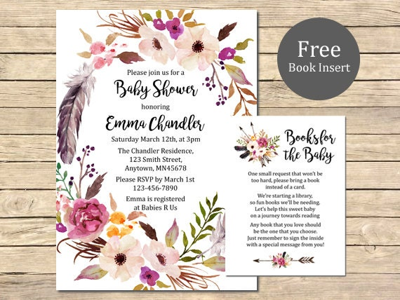 boho baby shower printable invitation book insert floral