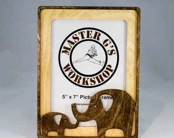 """5"""" x 7"""" Elephant picture frame, Laser cut multi layer wood"""