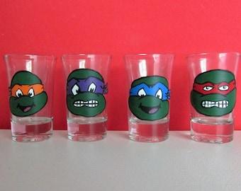 Hand-Painted Teenage Mutant Ninja Turtle Shot Glasses, set of 4