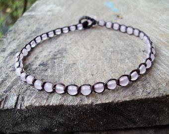 Rose quartz anklets,Stone anklets,Women anklets