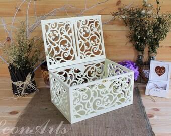 Ivory Wedding Card Box-Wedding Gift-Plywood box-Love Story Keepsake Box-Wedding money box-Wedding card money holder-Card Holder-Candy box
