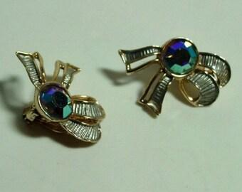 Vintage Ribbon Bow Clip Earrings Ships Free