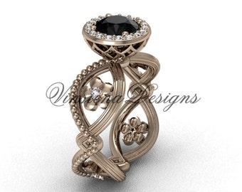 14kt rose gold flower engagement ring, Black Diamond VF301014