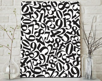 Black and White Numbers, Abstract Numbers, Numbers Art, Modern Numbers Print, Modern Wall Print, Contemporary Wall Art, Numbers Nursery