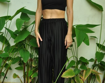 Pastel High Waist Black Pleated Wide Leg Trousers