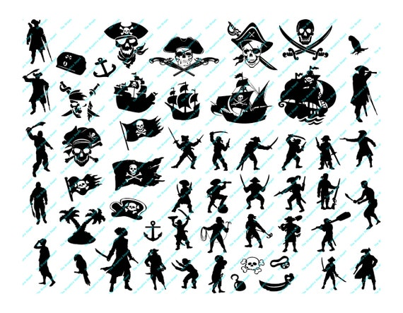 Pirate Silhouettes Pirates Silhouette Svg Dxf Eps Files