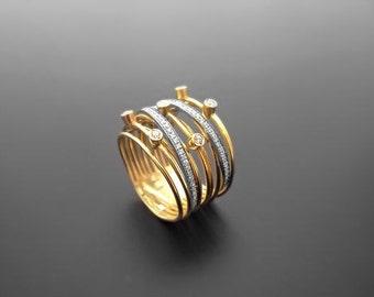 VA010,Diamond Ring,  14k Yellow Gold,  14k White Gold