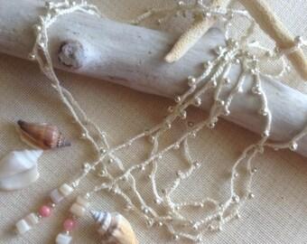 Creme Beaded Lariat Necklace
