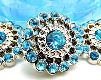 TURQUOISE Rhinestone Buttons Acrylic Rhinestone Buttons Pin Wheel Shaped Rhinestone Buttons Coat Buttons Fashion Buttons 26mm 3186 25R