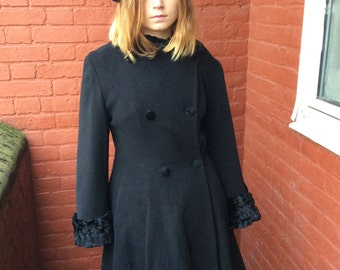 vintage 80s90s black cashmere princess coat