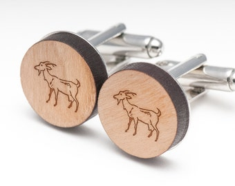 Goat Wood Cufflinks Gift For Him, Wedding Gifts, Groomsman Gifts, and Personalized
