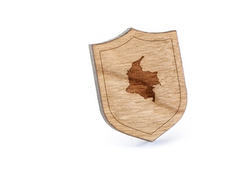 Colombia Lapel Pin, Wooden Pin, Wooden Lapel, Gift For Him or Her, Wedding Gifts, Groomsman Gifts, and Personalized
