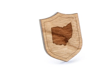 Ohio Lapel Pin, Wooden Pin, Wooden Lapel, Gift For Him or Her, Wedding Gifts, Groomsman Gifts, and Personalized