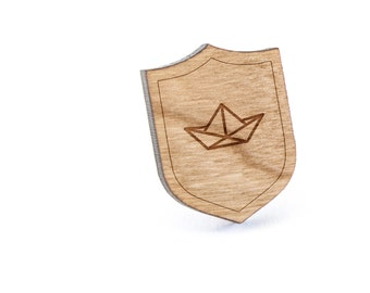 Origami Boat Lapel Pin, Wooden Pin, Wooden Lapel, Gift For Him or Her, Wedding Gifts, Groomsman Gifts, and Personalized
