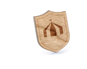 Circus Tent Lapel Pin, Wooden Pin, Wooden Lapel, Gift For Him or Her, Wedding Gifts, Groomsman Gifts, and Personalized