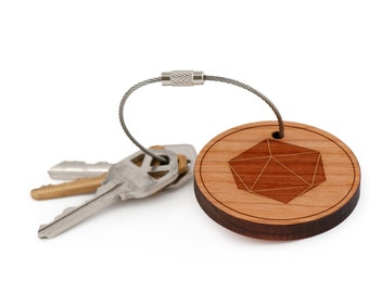 d20 Keychain, Wood Keychain, Custom Keychain, Gift For Him or Her, Wedding Gifts, Groomsman Gifts, and Personalized