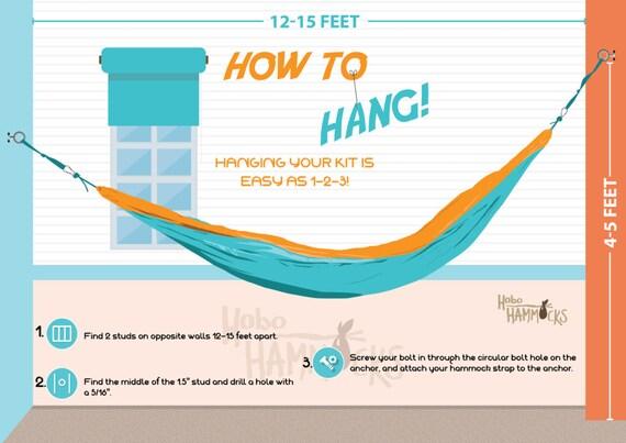 indoor hammock hanging kit by hobohammocksco on etsy. Black Bedroom Furniture Sets. Home Design Ideas
